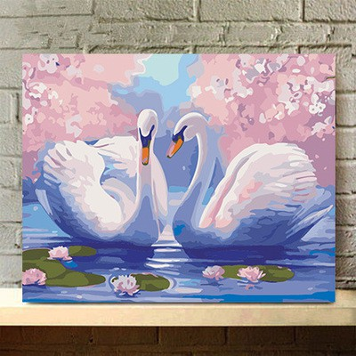 Tranh tự tô màu sơn dầu số hóa hoa động vật - Thiên nga