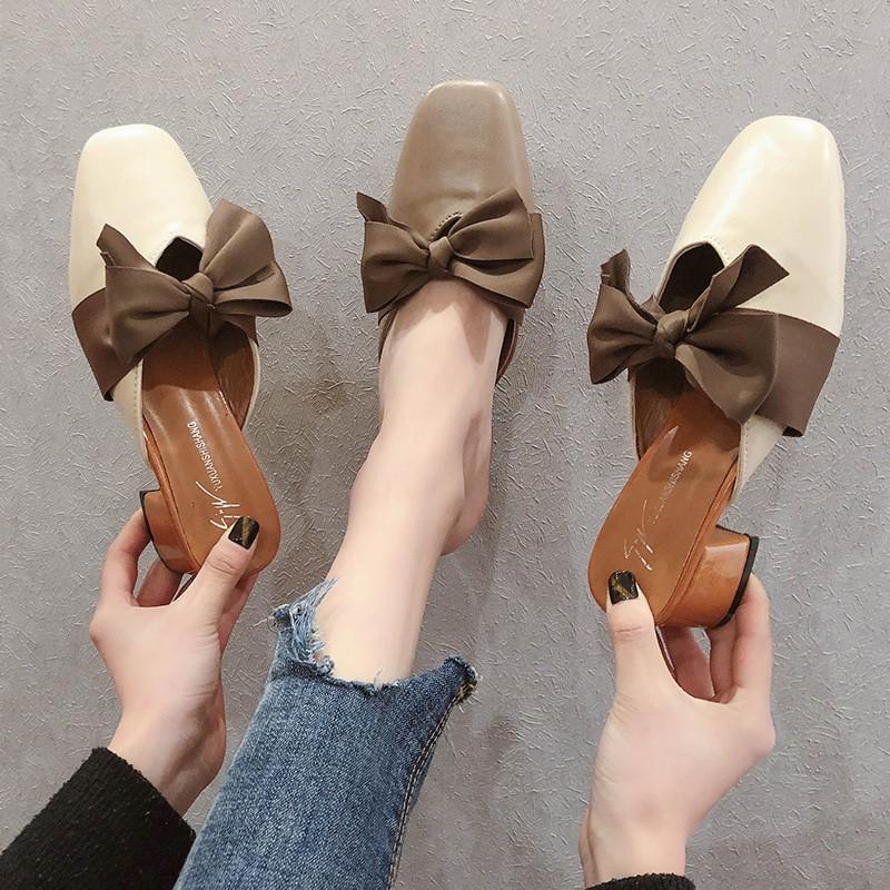 Baotou Semi-slippers Female Sennu Spring and Summer 2019 New