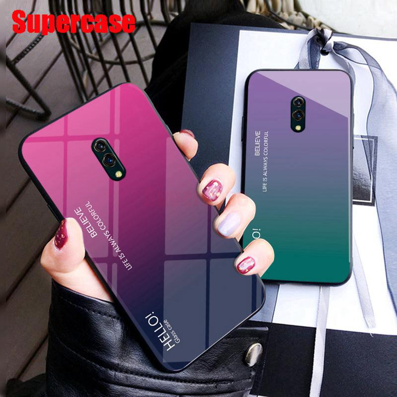 For OPPO K3 Realme X Phone Case Gradient Tempered Glass Luxury Fashion Trend Soft Frame Hard Cover