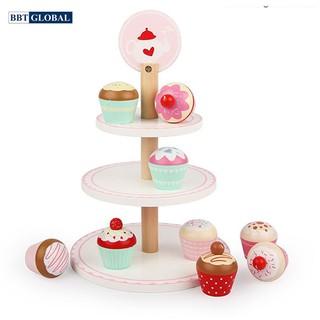 Bộ đồ chơi cho bé BBT Global tháp bánh kem 3 tầng bằng gỗ MSN19035 thumbnail