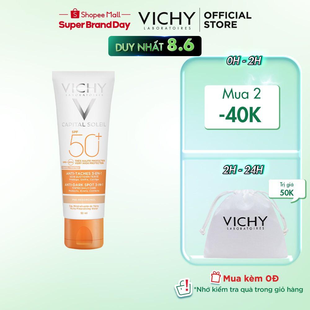 Kem chống nắng giảm thâm nám không nhờn rít SPF 50+ Vichy Ideal Soleil UVB+UVA Anti Dark Spot 50ml