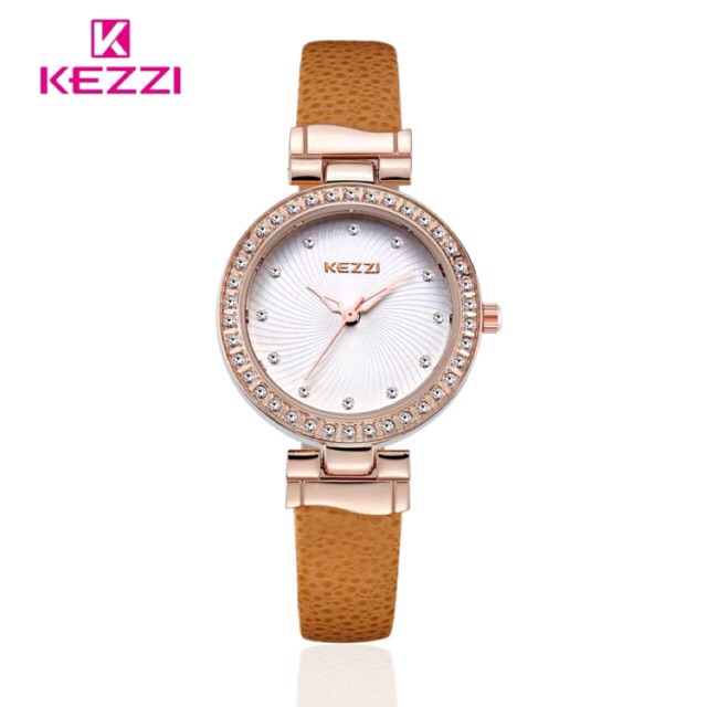 Đồng hồ nữ Kezzi 978 hàng chính hãng dây da mặt đá size 28mm