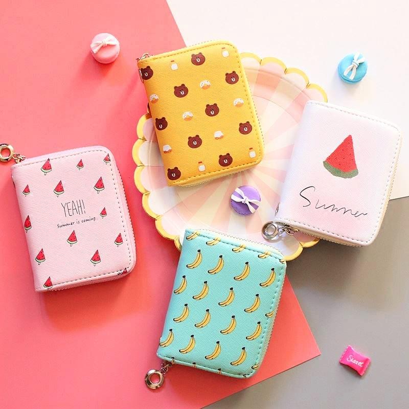 Bóp ví ngắn nữ cầm tay họa tiết hoạt hình hoa quả da xước xinh xắn