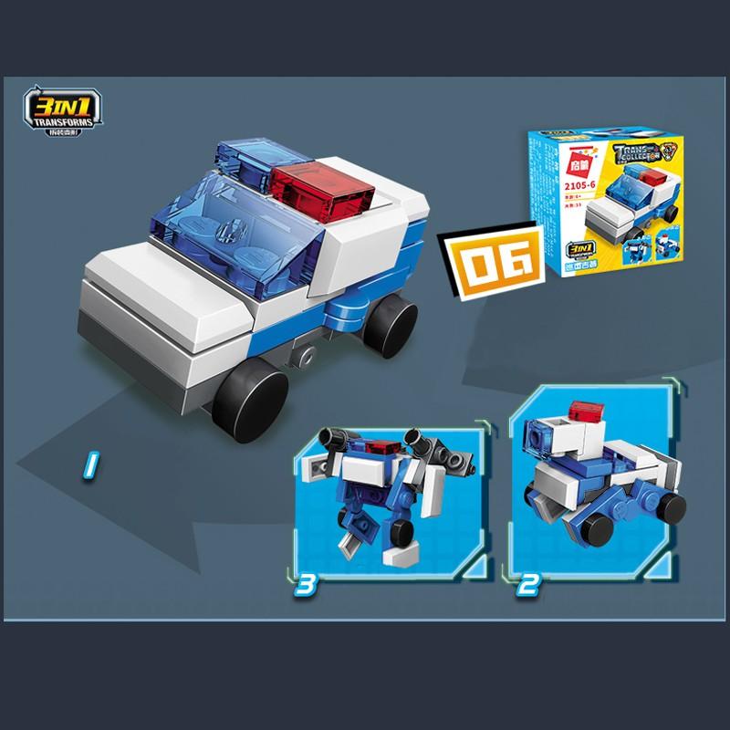 Đồ chơi xếp hinh lắp ráp các xe công trình và xe cảnh sát cho bé