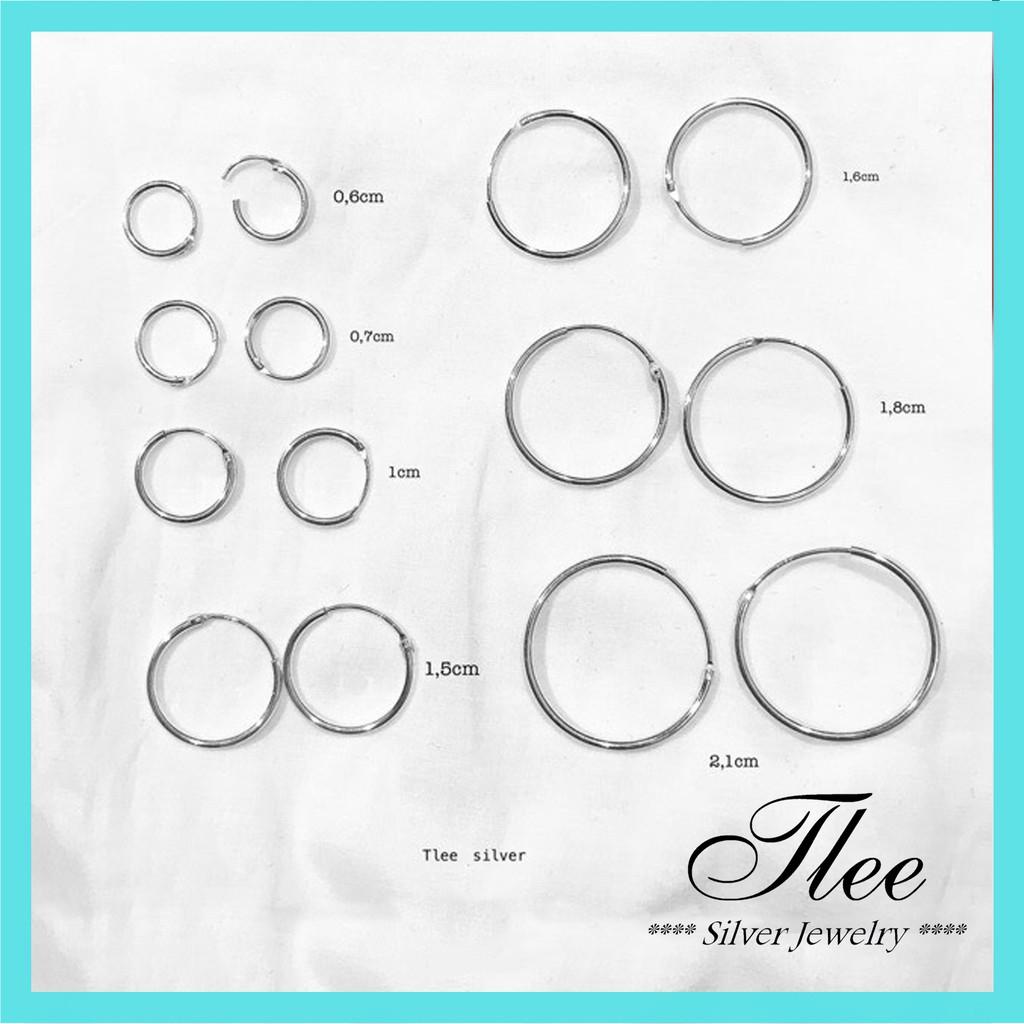 Khuyên tai bạc tròn trơn nhiều size có chốt Tlee bạc nguyên chất