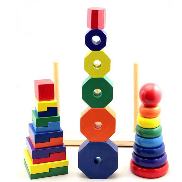 Tháp thả hình 3 trụ lớn. Đồ chơi bằng gỗ cho bé luyện kỹ năng.