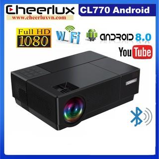 Máy chiếu Android Cheerlux CL770 Full HD 1080P, kết nối Wifi, loa Bluetooth và điện thoại.