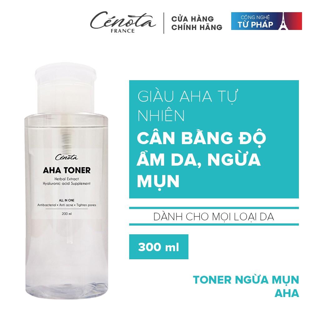 Nước hoa hồng dành cho da mụn Cénota Aha Toner 300ml