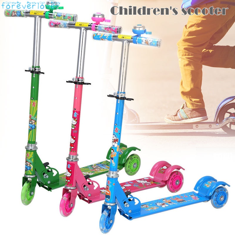 Children Kids Scooter Foldable Tricycle Ride Toys with Flashing Light for Outdoor
