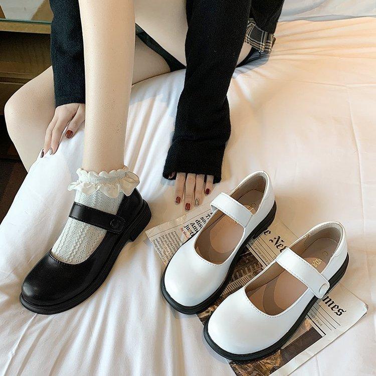 Giày dan khóa dán màu trơn phong cách thoải mái thời trang dành cho nữ