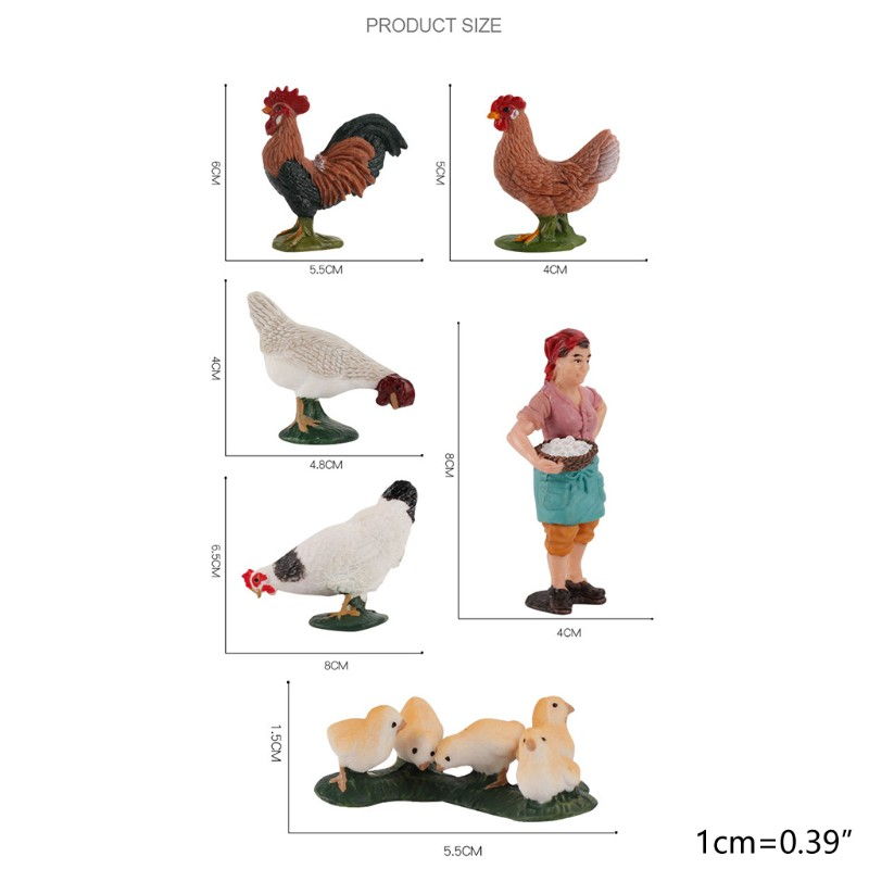 WM Simulation Zoo Animals Model Chicken Cow Poultry PVC Figures Sand Table Toys