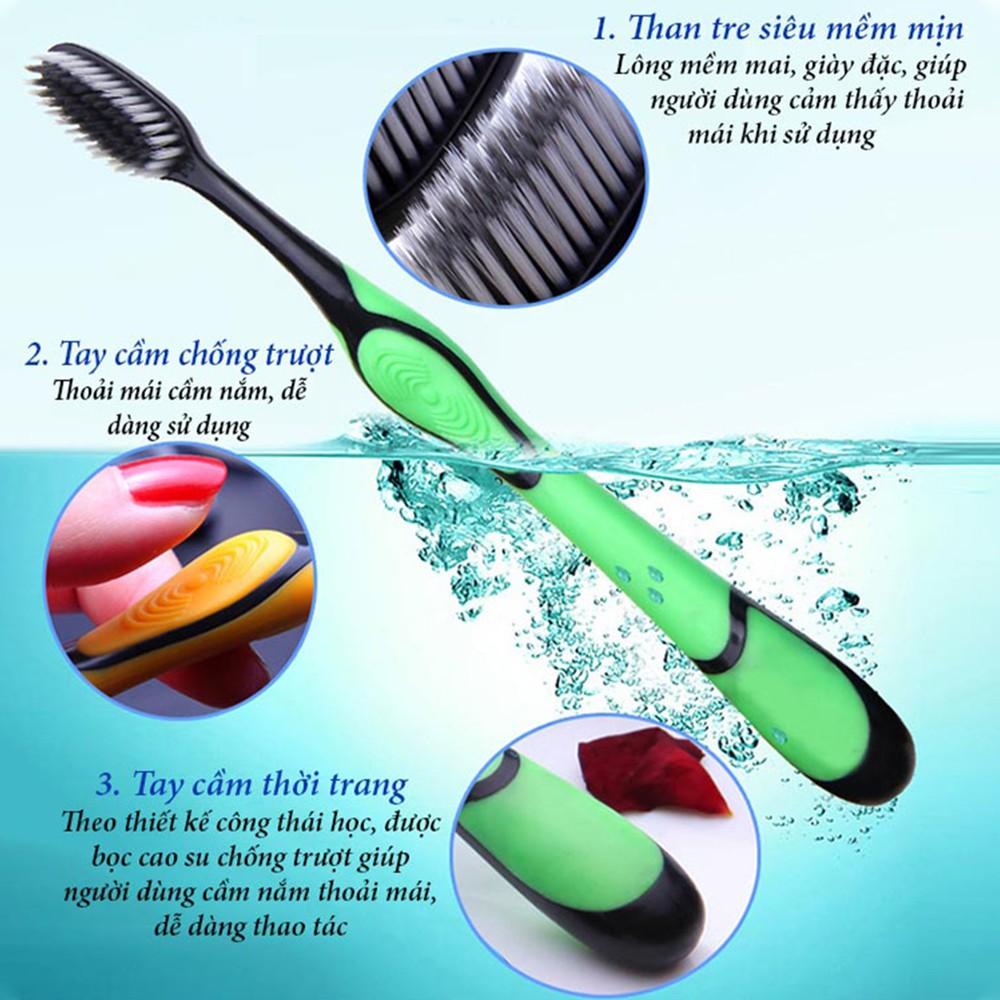 Bàn chải đánh răng than tre hoạt tính cao cấp BOSSI, Bàn chải lông mềm an toàn tuyệt đối cho sức khỏe