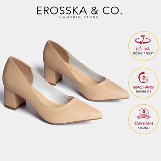 Giày cao gót Erosska thời trang mu i nho n kiê u da ng cơ ba n cao 5cm ma u kem _ EP011 thumbnail