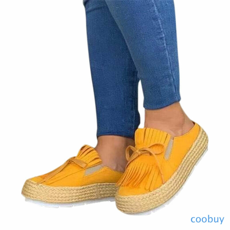 Giày Slip-on đế xuồng màu trơn phối tua rua