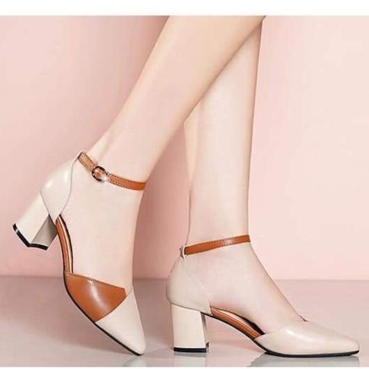 FREE SHIP Giày cao gót / sandal cao gót vuông 5p phối da siêu đẹp
