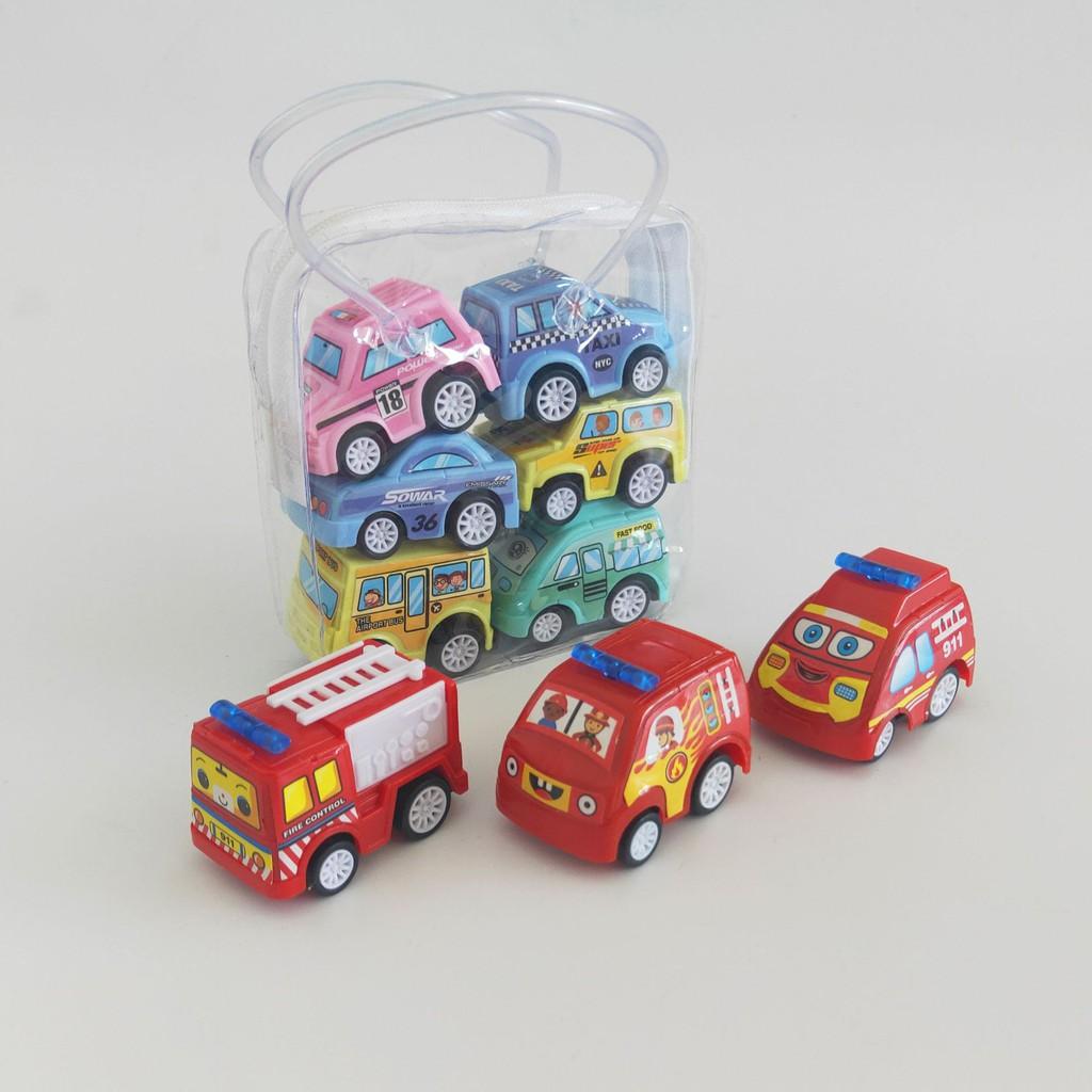 Set 6 mô hình ô tô đồ chơi có bánh đà cho bé