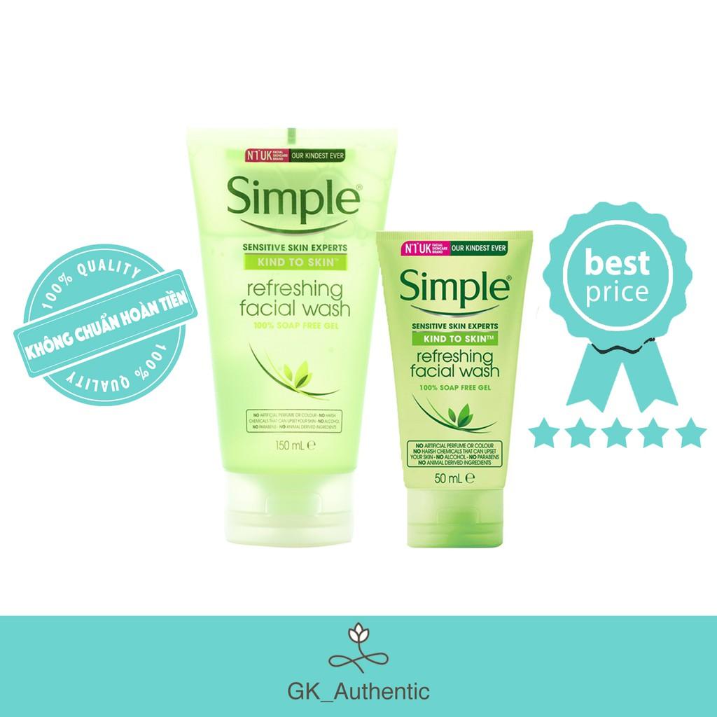 Sữa Rửa Mặt Dịu Nhẹ Cho Da Nhạy Cảm - Simple Kind To Skin Refreshing Facial Wash  (150ml)