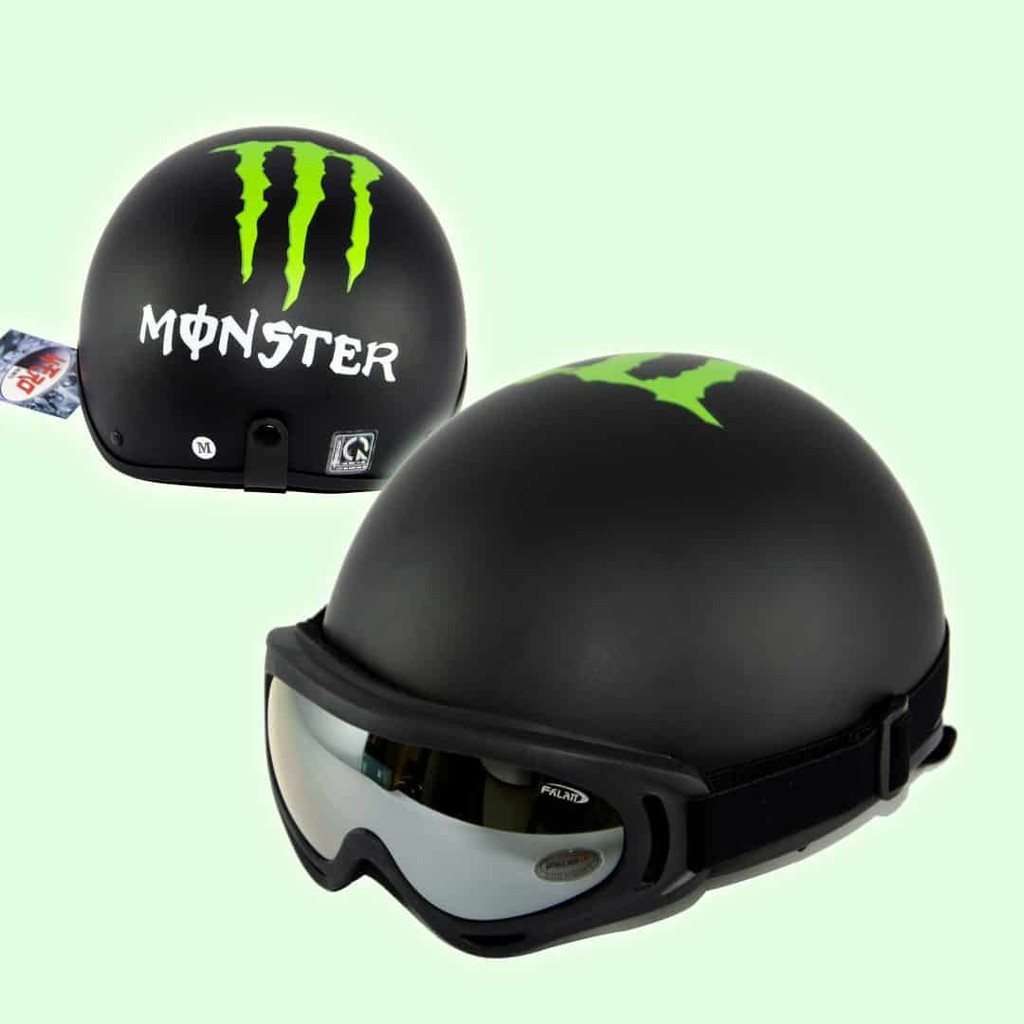 Mũ Bảo Hiểm Tem Monster, Nón Bảo Hiểm Đi Phượt Nửa Đầu Kèm Kính UV 400