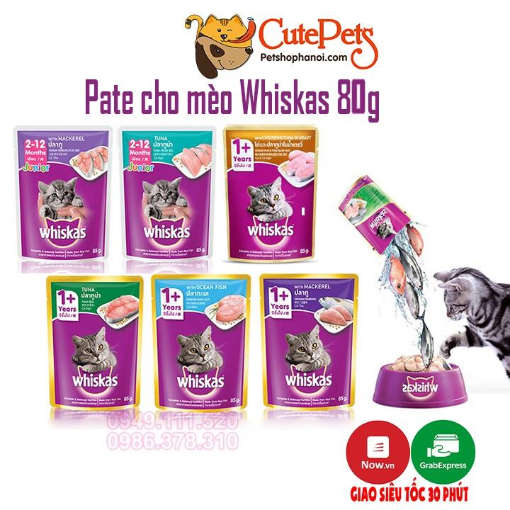 Pate cho mèo Whiskas 80g thức ăn ướt cho mèo - CutePets Phụ kiện chó mèo Pet shop Hà Nội