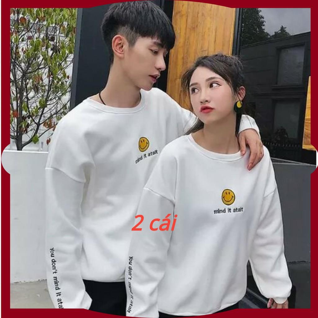 áo cặp thu đông tình yêu hình mặt cười siêu đẹp