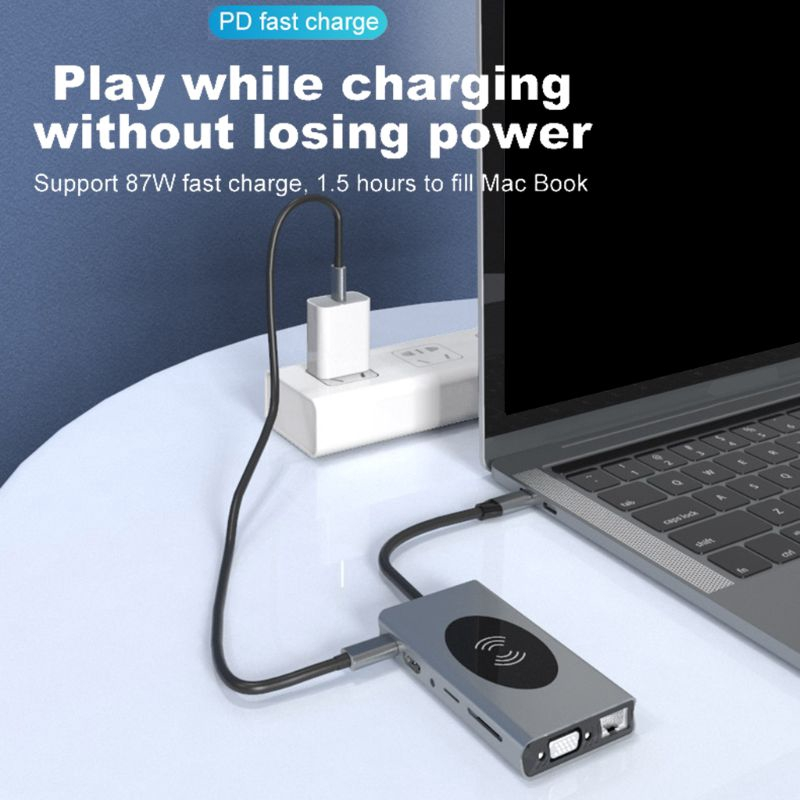USB C HUB Type-c to HDMI VGA RJ45 Audio Expander Adapter 3.5mm AUX Interface