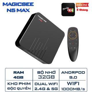 Android Tivi Box Magicsee N5 Max phiên bản 2020 – Ram 4GB, Rom 32Gb, Android 9.0 ( Có Bản ATV) – Điều khiển giọng nói