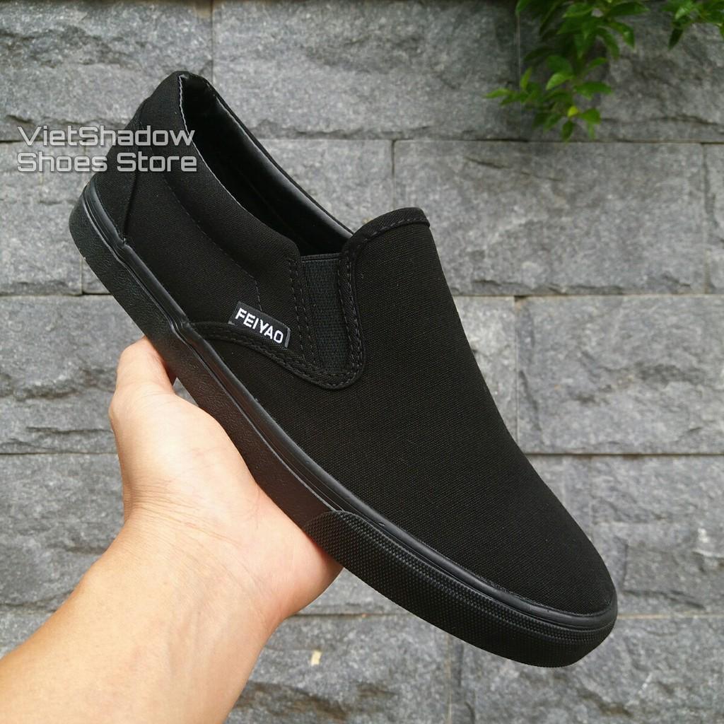 Slip on nam | Giày lười vải nam - Vải thô 2 màu full đen và đen đế trắng - Mã SP 177/755