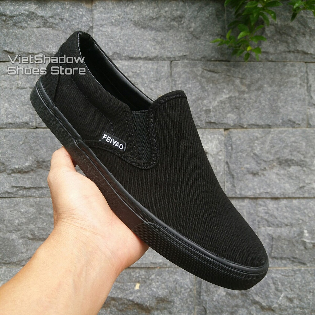 Slip on nam – Giày lười vải nam – Màu fullblack, fullbox – Mã SP 177 (có size 44)