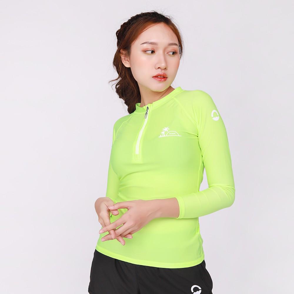 Áo Bơi Nữ Sobie Zipper Palm Neon Green