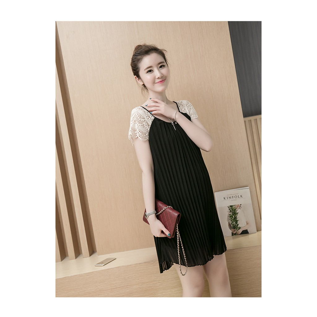 [Free ship 99k giao tại HN + HCM]Đầm (Váy) Bầu Kiểu Dáng Hàn Quốc Xếp Ly Đen