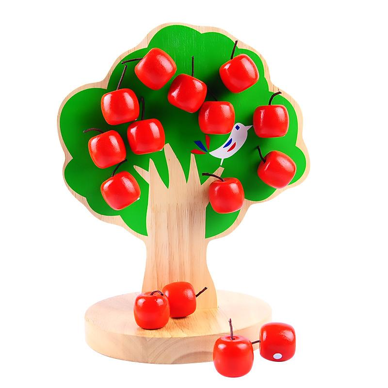 Montessori Wooden Magnetic Apple Tree Math Early Learning Educational Toys for Children Boy