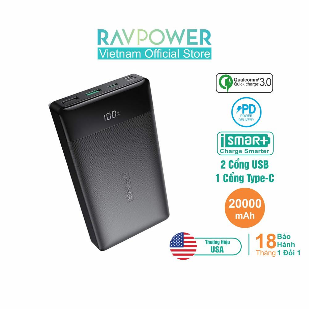 Pin Sạc Dự Phòng RAVPower 20000mAh Quick Charge 3.0 & PD 18W - RP-