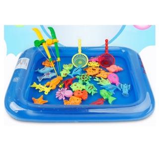 Bể phao câu cá đồ chơi cho bé kèm bơm tay và hai cần
