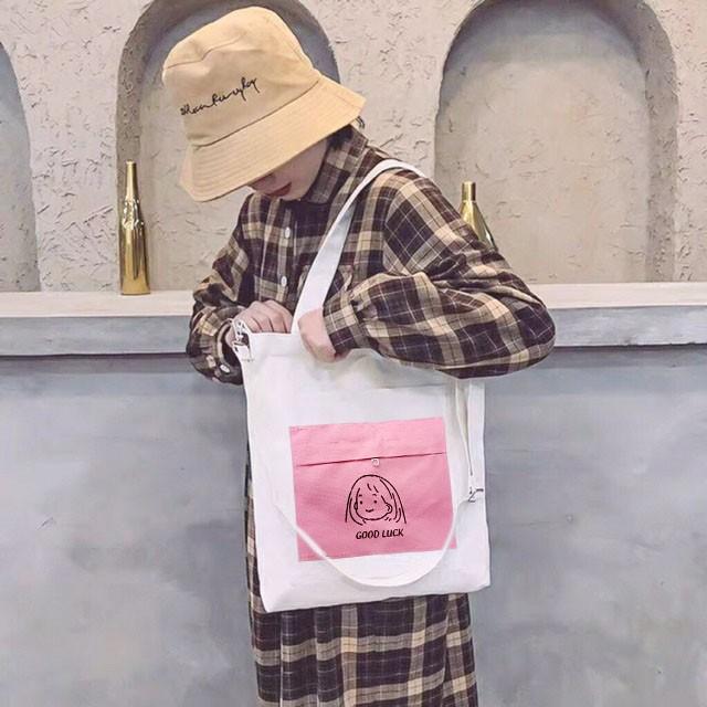 ❤️ BỎ SỈ ❤️ TÚI VẢI TOTE phối hình cute, túi xách nữ đựng điện thoại đồ dùng du lịch chất vải kaki bối họa tiết đẹp