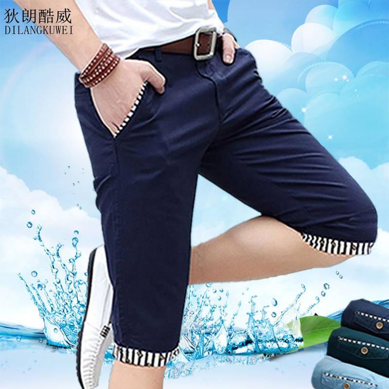 Dilang Coolwei กางเกงขาสั้นผ้าฝ้ายในช่วงฤดูร้อนของผู้ชายกางเกงลำลองกางเกงขายาวกางเกงสลิม 7 กางเกงกางเกงชายหาด 5 กางเกง