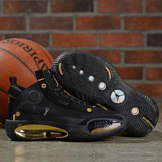 [Với hộp] Giày bóng rổ Air Jordan 34 XXXIV AJ34 Joe nam màu đen / vàng