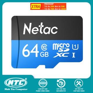 [Mã ELFLASH5 giảm 20K đơn 50K] Thẻ nhớ MicroSDXC Netac C10 UHS-I U1 64GB 80MB/s (Đen) - Hàng chính hãng