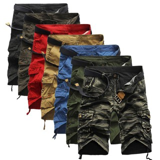 Men's loose casual camouflage tooling shorts large size multi-pocket five-point