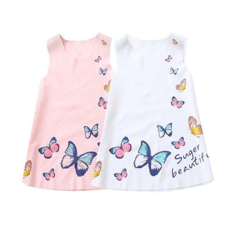 Đầm sát nách in hình bướm chất liệu vải lạnh cho bé
