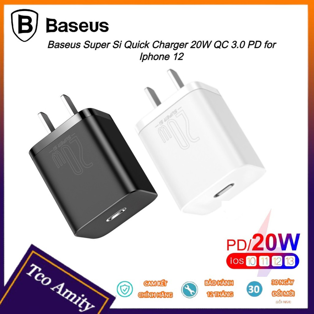 Củ sạc nhanh 20W Baseus QC 3.0 PD cho iPhhone 12 - Cổng Type C - Sạc nhanh - An Toàn - Tiện Dụng - Bảo hành chính hãng