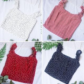 Pretty ❀ Sweet Polka Dot Chiffon Vest Women Stringy Selvedge Strap Tank Crop Tops ❃