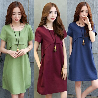 heerryzon Women Cotton Linen O-neck Solid Thin Short-sleeved Loose Waist Plus Size Dress