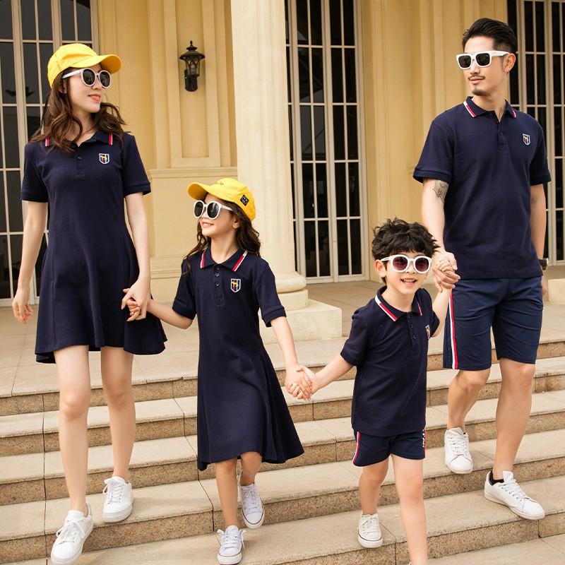 Áo gia đình đẹp ❤️FREESHIP❤️ set đồng phục gia đình váy áo thun có cổ dễ thương màu xanh than AG02