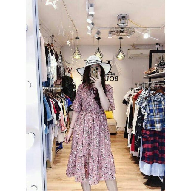 Đầm dạo phố maxi hồng họa tiết siêu đẹp