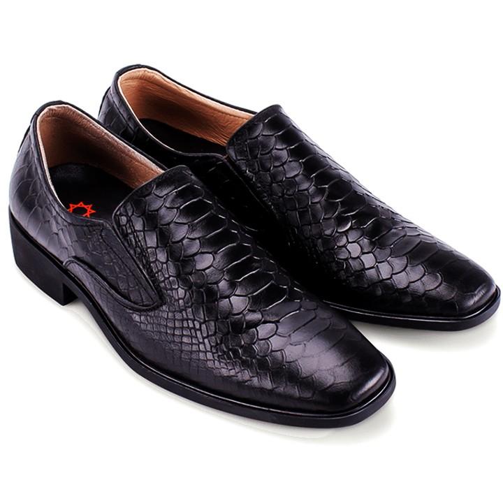 Giày tây nam Huy Hoàng da bò vân da trăn màu đen-HP7195