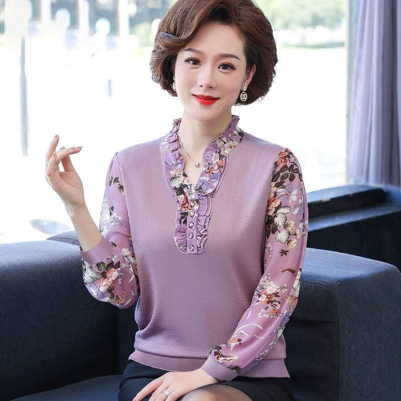 ❍Áo thun đầu cỡ lớn của người mẹ dài tay 2021 mùa xuân và thu mới phong cách lót kiểu xa tuổi trung niên mỏng gi