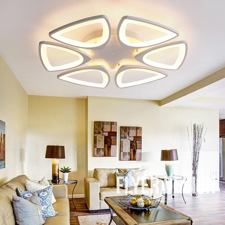 Đèn trần trang trí cao cấp hoa mai 6 cánh 3 chế độ ánh sáng kèm điều khiển từ xa