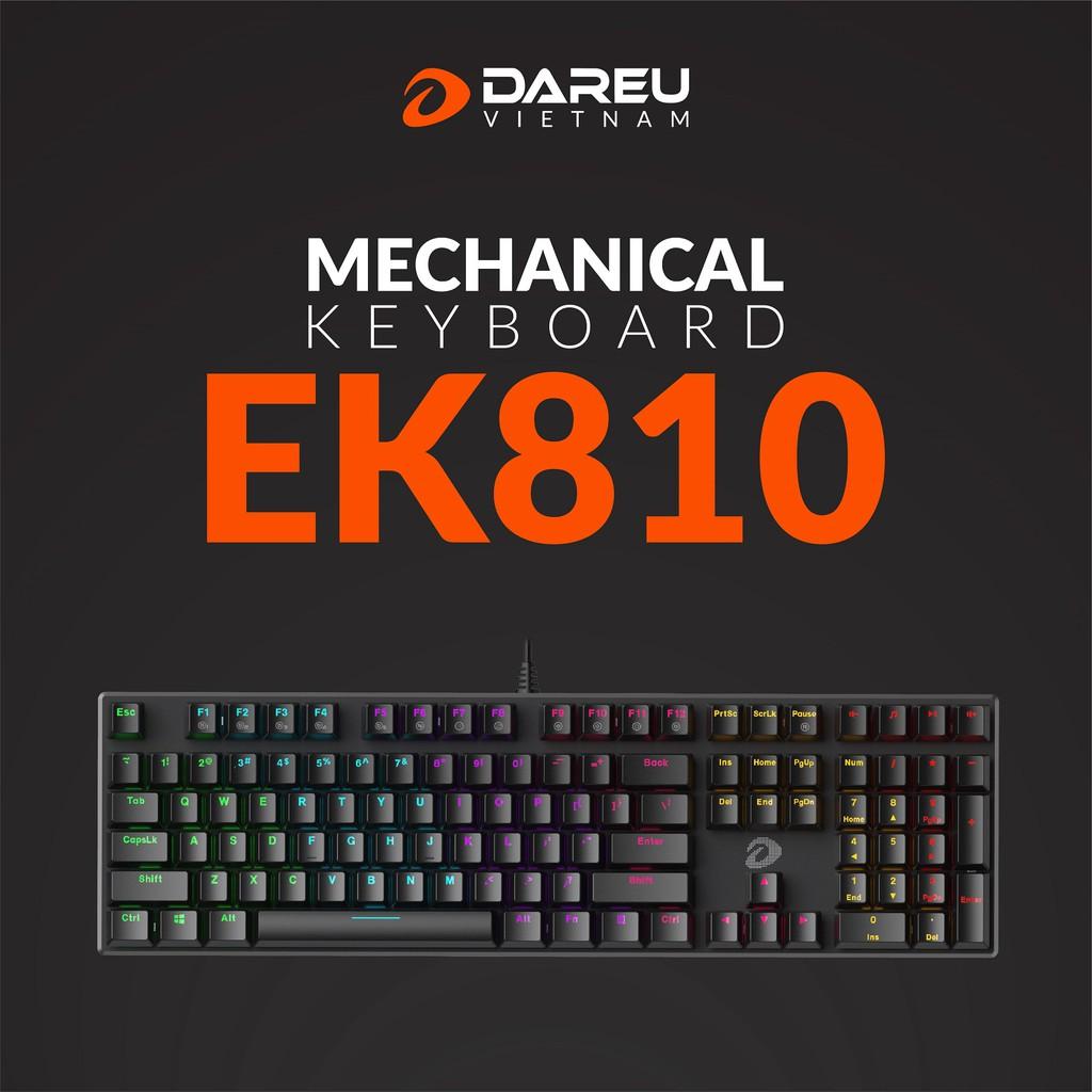 Bàn phím cơ Gaming DAREU EK810 Black (MULTI-LED, Blue/ Brown/ Red D switch) - Bảo hành 24 tháng