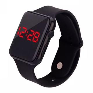 Đồng hồ led unisex dây nhựa mặt vuông thời trang
