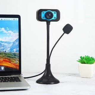 Webcam Chân Cao Có Đèn, micro HD 720p (Đen)